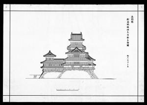 松本城竣功天守西立面図