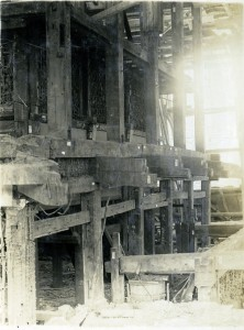 The insides of the castle during the reconstruction in the Showa era