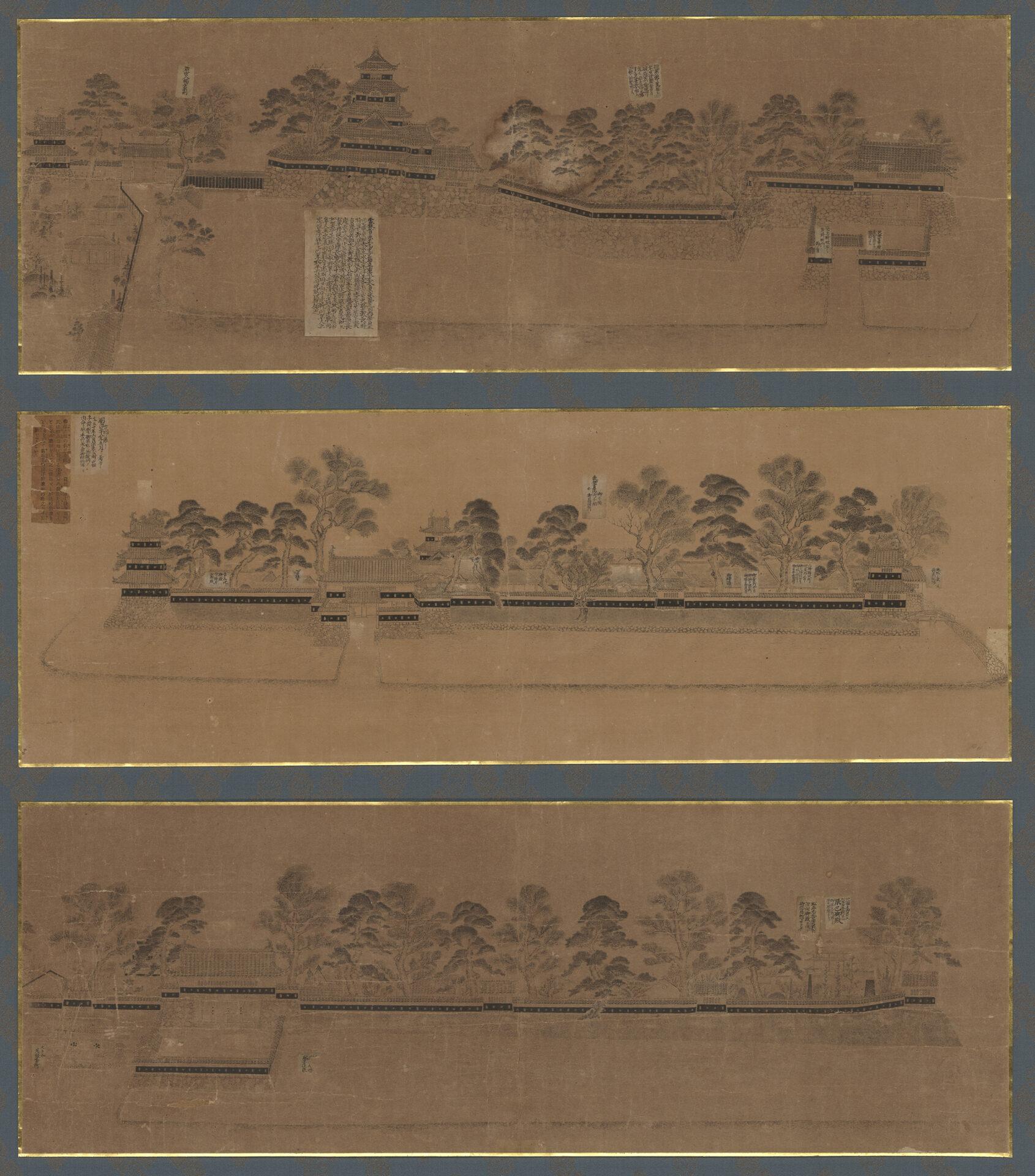 「後藤新門画 紙本墨画 松本城旧景図」