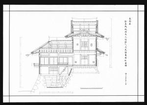 松本城竣功辰巳附櫓及び月見櫓東西断面図