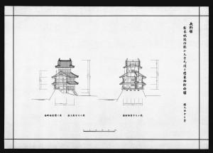 松本城竣功乾小天守及び渡り櫓東西断面図