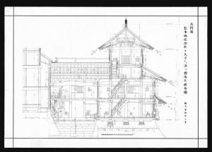 松本城竣功乾小天守及び渡り櫓南北断面図