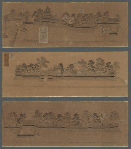 An illustration of the scenery of the Matsumoto Castle