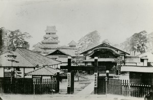 The courthouse built in the palace in the Meiji era