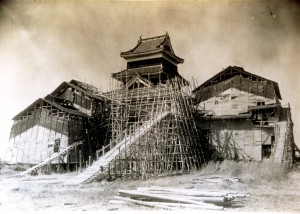 The scaffolds used in the reconstruction in the Showa era