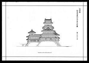 the Matsumotojo Shunko Jissoku Tenshu Nishi Ritsumenzu